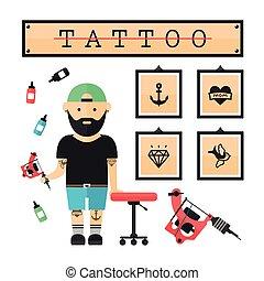 Tattoo artist  master in salon
