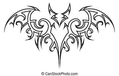 Vector tattoo bat tribal. Design element. Halloween illustration.