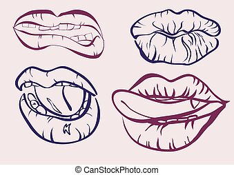 Tattoo .Collection mouths with lips