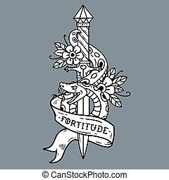 Tattoo dagger, snake, ribbon. Lettering Fortitude.