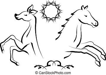 Tattoo Deer And Horse