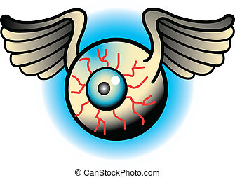 Tattoo Design Eyeballs Clip Art - Tattoo design of a flying...
