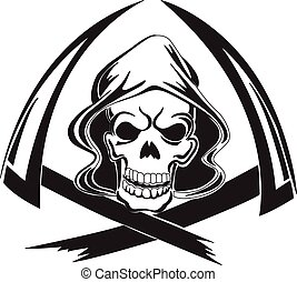 Tattoo design of a grim reaper with scythe, vintage engraved illustration.