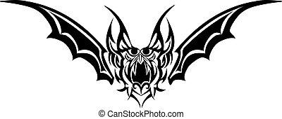 Tattoo design of bat monster, vintage engraving.