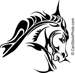 Tattoo design of horse head, vintage engraving.