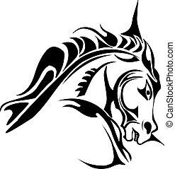 Tattoo design of horse head, vintage engraving.