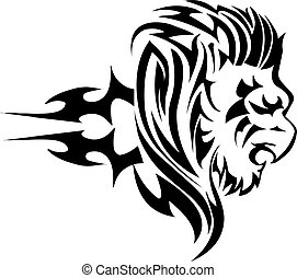 Tattoo design of lion, vintage engraving.