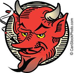Tattoo design of a vintage style evil devil smoking a cigar.
