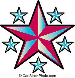 Tattoo design of six western stars.