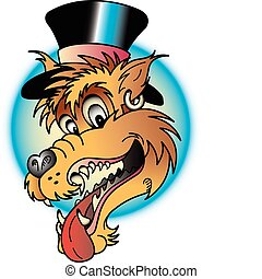 Tattoo design of a laughing wolf wearing a top hat in retro or vintage style.