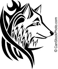 Tattoo design wolf head, vintage engraving.