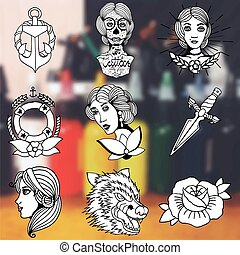 Tattoo designs vector set