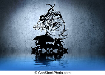 Tattoo drawing on blue wall with water reflections