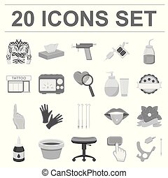 Tattoo, drawing on the body monochrome icons in set collection for design. Tattoo salon and equipment vector symbol stock web illustration.