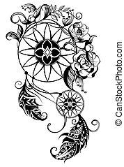 Tattoo dreamcatcher - Indian Dream catcher vector