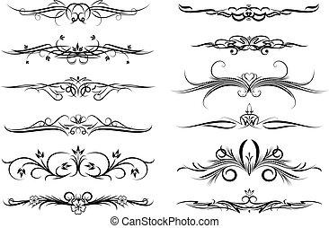 tattoo., elementos, diseño, o, docena