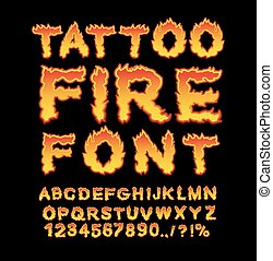 Tattoo Fire font. Flame Alphabet. Fiery letters. Burning...