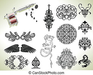 Tattoo flash design elements - Series set of tattoo flash...
