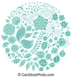 Tattoo floral doodle vector elements set