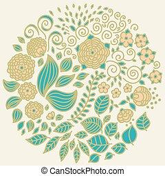 Tattoo floral doodle vector elements set