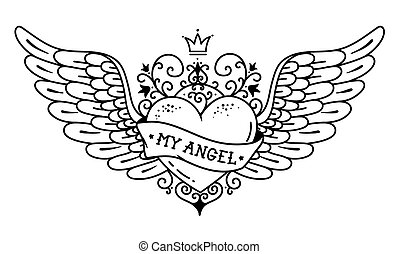 Tattoo flying heart with crown and forged ornament.Tattoo heart with wings, ribbon and flowers. MY ANGEL.Black and white