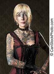 tattoo girl with gothic costume