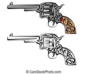 Tattoo Gun Design Vector Art