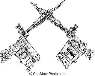 tattoo guns black and white illustration