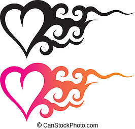 tattoo heart - tattoo template of a heart with abstract...