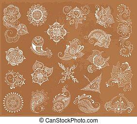tattoo henna element set