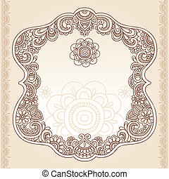 tattoo henna, paisley, doodle, quadro