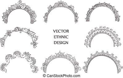 tattoo henna pattern set - Vector set of semicircular tattoo...