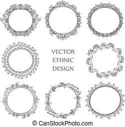 tattoo henna pattern set - Vector set of round tattoo henna...