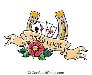 Tattoo horseshoe, ribbon, flower and playing cards. Good Luck tattoo. Old school style. Lucky symbol