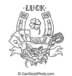 Tattoo horseshoe with playing cards, dice, rose and shamrock clover. Good Luck tattoo. Black and white illustration