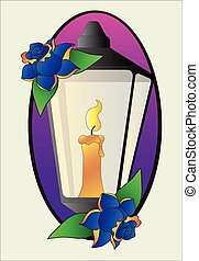 Tattoo lantern and roses stencil vector - Tattoo lantern and...