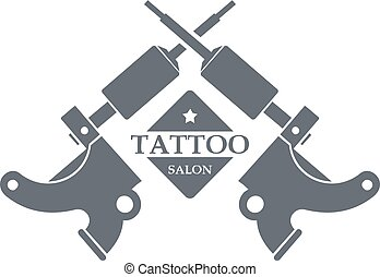 Tattoo machine logo, simple gray style