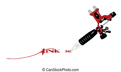 ink me - tattoo machine with ink me text  concept