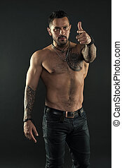 tattoo., macho, tatuaje, mi, torso, qué, muscular, nuevo,...