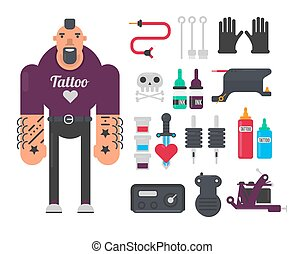 Tattoo master and tattooing work tools vector flat icons set