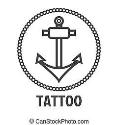 Tattoo master studio salon vector marine anchor icon template