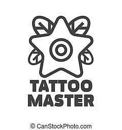 Tattoo master studio salon vector star flower icon template