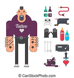 Tattoo master with special work equipment isolated illustration