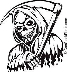 Tattoo of a grim reaper holding a scythe, vintage engraving...