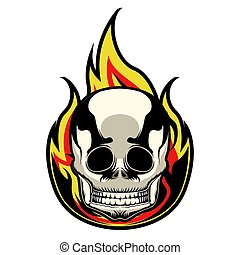 Tattoo of a skull with a flame