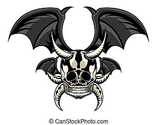 Tattoo of a skull with bat wings
