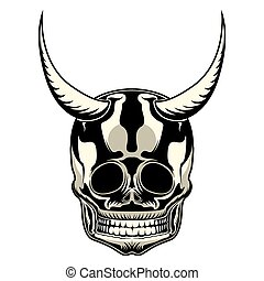 Tattoo of a skull with horns