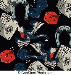 Tattoo old school background pattern vector illustration...