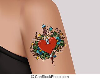 Tattoo on shoulder. Broken heart. Heart pierced with dagger. Symbol of betrayal. Template of banner for tattoo parlor