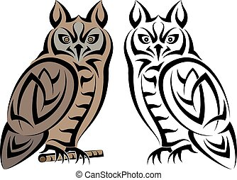 Tattoo Owl Design Vector Art